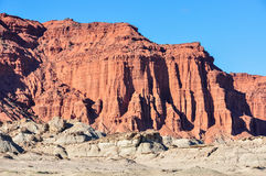 Las Coloradas red cliff in the Ischigualasto National Park, Arge Stock Image