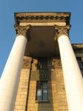 Las columnas del estilo del imperio de Stalin supuesto Fotos de archivo libres de regalías
