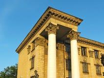 Las columnas del estilo del imperio de Stalin supuesto Fotografía de archivo libre de regalías