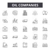 Las compañías petroleras alinean los iconos, muestras, sistema del vector, concepto linear, ejemplo del esquema ilustración del vector