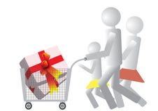 Las compras de la familia entera Foto de archivo libre de regalías