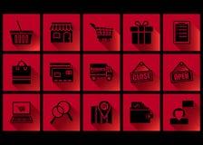 las compras del diseño del icono y el negro planos viernes del comercio electrónico aislaron en rojo ilustración del vector