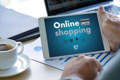 Las compras en línea añaden a las compras en línea de la venta de la compra de la tienda de la orden del carro Imágenes de archivo libres de regalías