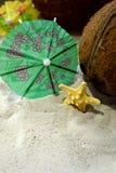 Las conchas marinas, los cocos y los paraguas del cóctel están enmarcando el espacio de la copia en la arena de la playa Fotografía de archivo libre de regalías