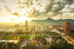 Las Condes district. Santiago, Region Metropolitana, Chile - May 25, 2017: Parque Araucano, a park in the center of Las Condes district, the wealthiest financial Royalty Free Stock Images