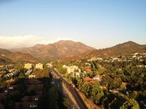 las condes with a view of the mountains stock photography