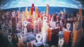 Las conexiones activas de la red y de base de datos en rascacielos con el perno animado firman libre illustration