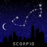 Las constelaciones del zodiaco del escorpión firman en el cielo estrellado hermoso con la galaxia y el espacio detrás Constelació ilustración del vector