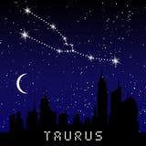 Las constelaciones del zodiaco del tauro firman en el cielo estrellado hermoso con la galaxia y el espacio detrás Constelación de ilustración del vector