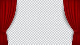 Las cortinas abiertas del terciopelo rojo realista del vector aisladas encendido transparen stock de ilustración
