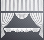 Las cortinas transparentes blancas se abren y las cortinas cerradas, colgantes ilustración del vector