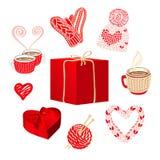 Las cosas hechas punto lindas y las cajas de regalo fijaron para las tarjetas del día de San Valentín o el diseño de tarjeta de l imagenes de archivo
