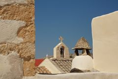 Las cruces de las iglesias griegas fotos de archivo libres de regalías