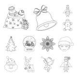 Las cualidades y los accesorios de la Navidad resumen iconos en la colección del sistema para el diseño Web de la acción del símb Fotografía de archivo
