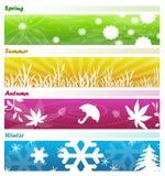 Las cuatro banderas de las estaciones ilustración del vector