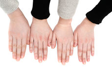 Las cuatro muchachas de las manos Foto de archivo