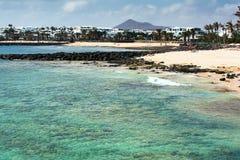 Las Cucharas beach in Costa Teguise, Lanzarote stock photography