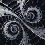 Las cuchillas de turbina se van volando fractal doble del extracto del efecto del espiral de la bobina Imagen de archivo
