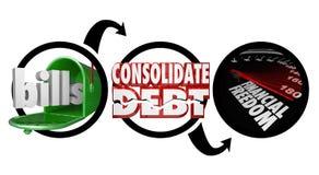 Las cuentas consolidan deuda que el diagrama financiero de la libertad reduce el dinero Ow stock de ilustración