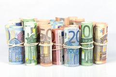 Las cuentas euro usadas más por los europeos son las de 5 10 20 50 Fotografía de archivo