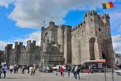 Las cuentas (gravensteen) en Gante son la fortaleza medieval de la única supervivencia en Flandes Fotos de archivo