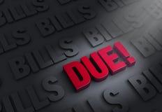 ¡Las cuentas vienen deuda! Fotos de archivo