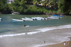 Las Cuevas Bay. Fishing boats on shore (early morning Stock Photography