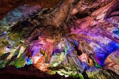 Las cuevas de la plata de Guilin se encienden para arriba Imagen de archivo libre de regalías