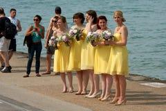 Las damas de honor se preparan para el lanzamiento de foto en la línea de costa foto de archivo libre de regalías