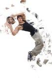 Las danzas del baile del bailarín aisladas en blanco imagen de archivo libre de regalías