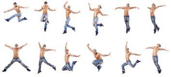 Las danzas del baile del bailarín aisladas en blanco fotografía de archivo