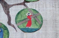 las 2das estaciones de la cruz, Jesús se dan su cruz Foto de archivo libre de regalías