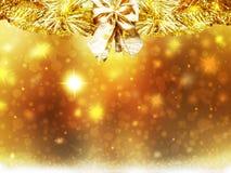 Las decoraciones de las estrellas de la nieve del amarillo del oro de la Navidad del fondo empañan Año Nuevo del ejemplo Fotos de archivo