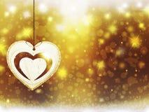 Las decoraciones de las estrellas de la nieve del corazón del amarillo del oro de la Navidad del fondo empañan Año Nuevo del ejem Foto de archivo libre de regalías