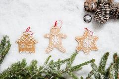 Las decoraciones de la celebración del árbol de navidad el invierno nievan para el aviso del día de fiesta Imagenes de archivo