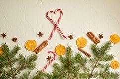 Las decoraciones de la comida del Año Nuevo con las ramas del abeto, el corazón de los conos rojos del caramelo y las especias tr Imagenes de archivo