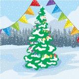 Las decoraciones de la Navidad en un fondo del invierno ajardinan libre illustration
