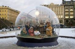 Las decoraciones de la Navidad y del Año Nuevo 2018 en el Kazán ajustan en St Petersburg Fotografía de archivo libre de regalías