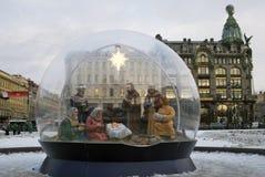 Las decoraciones de la Navidad y del Año Nuevo 2018 en el Kazán ajustan en St Petersburg Fotografía de archivo
