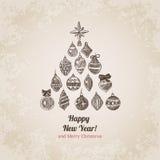 Las decoraciones del árbol de navidad fijaron la plantilla handdrawn de la postal del estilo Imagen de archivo
