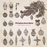 Las decoraciones del árbol de navidad fijaron la plantilla handdrawn del estilo Fotos de archivo libres de regalías