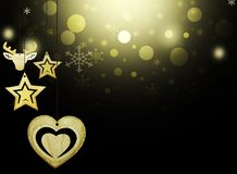 Las decoraciones negras de la nieve del corazón de los ciervos del oro de las estrellas de la Navidad del fondo empañan Año Nuevo libre illustration
