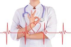Las demostraciones de la mano del doctor todo son la AUTORIZACIÓN, el diagrama del corazón Imagen de archivo