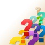 Las demostraciones de los signos de interrogación pidieron con frecuencia preguntas y respuesta Foto de archivo libre de regalías