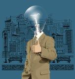 Las demostraciones del hombre de negocios de la cabeza de la lámpara del vector manan hecho ilustración del vector