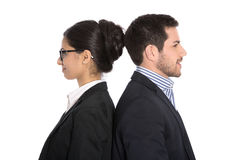Las derechas de la igualdad: hombre de negocios y empresaria con el mismo qua Fotografía de archivo