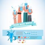 Las diversas manos que sostienen la botella y la taza de bebida riegan dri sano stock de ilustración