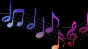 Las diversas notas musicales que subían en las líneas canal alfa incluyeron ilustración del vector