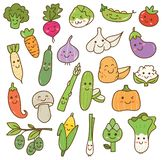 Las diversas verduras garabatean el elemento del diseño del kawaii stock de ilustración