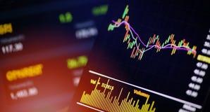 Las divisas en línea del comercio de Smartphone o las cartas del mercado de bolsa de acción representan datos del tablero gráfica fotografía de archivo libre de regalías